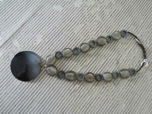Black Mother of Pearl and Hematite Beaded Necklace