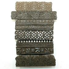 Old Lot of 6 Vintage Traditional Hand Carved Wooden Textile/Fabric Print Blocks