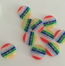 10 X Bright Stripey 13mm Plastic Buttons- Australian Supplier