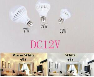 Led Bulbs lights E27 3W 5W 7W DC12V volt Led to Bedroom lamp Warm White/White