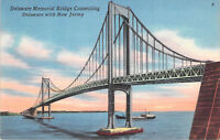 Delaware Memorial Bridge World War 2 Connecting DE-NJ Linen Vintage Postcard