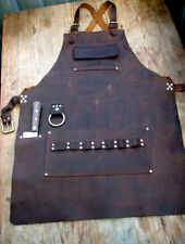Chef's Leather Apron with Knife Sheath Pockets