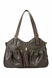 PETOTE METRO Chocolate Brown with Leather Tassel Tote Dog Carrier Bag 3 Sizes