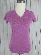 Women's UNDER ARMOUR Purple Semi Fitted V-Neck Workout Exercise Wicking Shirt,XS