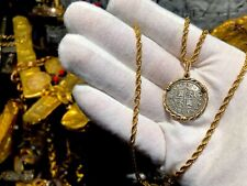 SPAIN 1 REAL 1735 14KT BEZEL PIRATE GOLD COINS TREASURE JEWELRY NECKLACE PENDANT