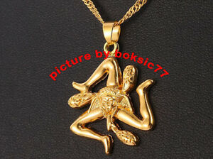SICILY SICILIA PENDANT TRINACRIA STAINLESS STEEL ELECTROPLATED GOLD COLOR