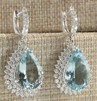 6.50Ct Pear Cut Aquamarine Diamond  Drop/Dangle Earrings 14K White Gold Finish