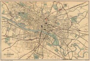 GLASGOW. Antique town plan. Scotland. BARTHOLOMEW 1885 old map chart