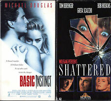 Pair of Thrillers on VHS Tape - Basic Instinct and Shattered