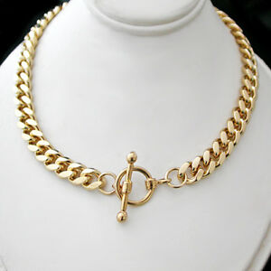 "LADIES 14.5"" FOB CLASP 7mm Rounded CURB Link 14K GOLD GL CHOKER Necklace +GUAR"