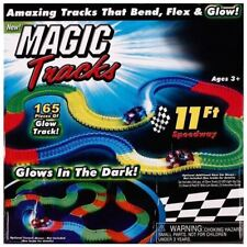 Magic Tracks Glow In The Dark LED Light Up Race Car Set 165 Piece 11Ft Speedway