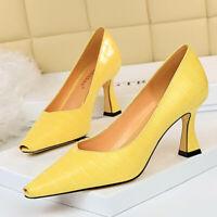 Women's Classic Leather Pointed Toe Kitten Heel Slip On Office Dress Pumps Shoes