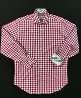 Thomas Dean TD Flip Cuff Mens Long Sleeve Check Button Up Shirt Size M