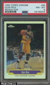 1999-00 Topps Chrome Refractor #83 Glen Rice Los Angeles Lakers PSA 8 NM-MT