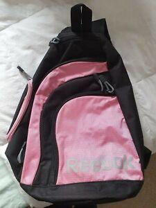 Womens Girls Pink Black Crossbody Reebok Backpack Gym bag Sports School Training