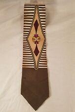 "TWEED London Geometric Necktie 100% Silk Brown & Gold 59""L 4""W Made In USA"