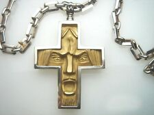 18K Gold Cross with Silver Chain. Face 18K, 750  Green Matte Finish Gold