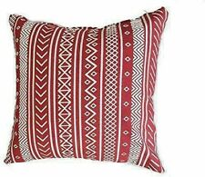 THROW PILLOW COVER 16 X 16 Inch PACK OF 4 COTTON SQUARE RED BOHO DESIGN