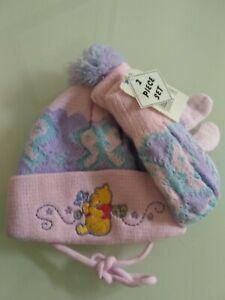 DISNEY WINNIE THE POOH TODDLER GIRLS Age 1-3 HAT AND MITTEN SET PURPLE PINK TIE