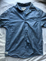 Billabong Men's Blue Button Front Short Sleeve Shirt Size Medium
