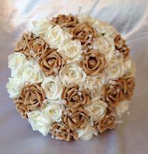 ARTIFICIAL IVORY / BEIGE FOAM ROSE BRIDE WEDDING BOUQUET POSIE CRYSTAL FLOWERS