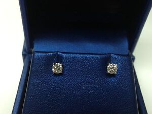 0.33 CT G-H SI GENUINE ROUND DIAMOND STUD EARRINGS 14K WHITE GOLD 100% NATURAL