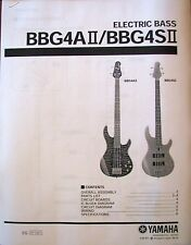 Yamaha BBG4A II BBG4S II Bass Guitars Service Manual and Parts List Booklet