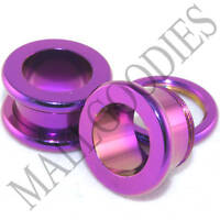"0520 Hot Pink Purple Screw-on/fit Flesh Tunnels 7/16"" Inch 11mm Ear Plugs"