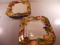"""Lot Of 4 Noble Excellence Fruit Amore Square Dinner Plates 11"""" x 11"""" New"""