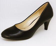 Elegante Cuero Óptica Zapatos de Tacón Pequeño Tacón - Elegante Negro B7735 S4