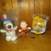 "Lot 3 Peanuts Plush 7"" Uncle Sam Snoopy Hat Wendy's 5"" Woodstock & Charlie Brown"