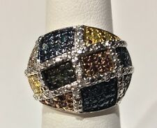 NEW! Multi Color Diamond Ring, (.65) 14k YG, WG, SS .925 Size 6