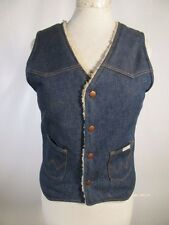 VTG WRANGLER NO FAULTS DENIM JEAN SHERPA LINED VEST JACKET SIZE L 08353