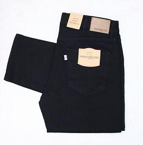 Designer Panno Lusso Slim Fit Straight Leg Mens Jeans Stretch Black Denim