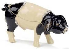 Black & Cream Pig Hinged Enameled Trinket Box Swarovski Crystals