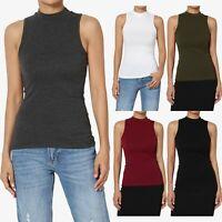 TheMogan Women's High Mock Neck Tank Top Basic Layering Sleeveless Tee T-Shirts