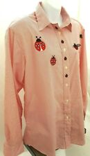 Get Lucky Womens Collar Button Up Shirt Red White Pinstripe Ladybug Top Sz M