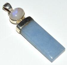 Angelite & Rainbow Moonstone 925 Sterling Silver Pendant Jewelry JB12042