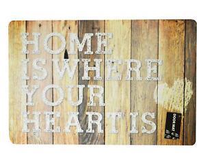 Non-slip Doormat Rug Home Wood Effect 60x40cm PVC Indoor Outdoor Mat Floor