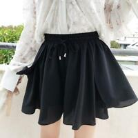Women Summer A-line Laceup Belted Chiffon High Waist Pleated Casual Dress Shorts