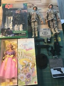 Barbie And 3 GI Joes And Accesories Lot Great Vintage Rare Collection