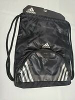 Adidas Sackpack Back Pack String Cinch Bag Black/Silver Media Safe Lined Pocket