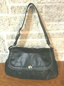 COACH SOHO BLACK PLEATED LEATHER SATCHEL 13729 SHOULDER HANDBAG HOBO BAG PURSE
