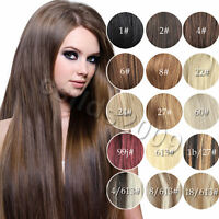 """Any Color AAA+ 12""""-36""""Clip In Remy Real Human Hair Extensions Straight 70g-140g"""