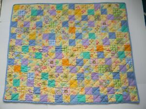 Teddy Bear/ Care Bear Small Table Topper Baby Quilt, Handmade Machine Stitched