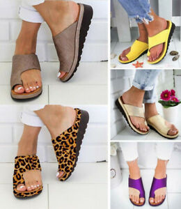 Womens Ladies Comfy Sandals Shoes - Bunion Corrector -PU LEATHER UK Size 2.5-7.5