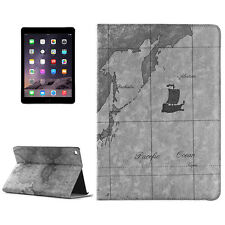 Apple iPad Air 2 Schutzhülle Kunstleder Tasche Hülle Case Cover Weltkarte Grau