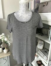 Hollister Navy And White Striped T-shirt Size Small