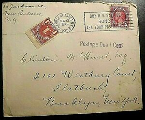 1935 US Cover - Grand Cen. Annex, NY Postmark; Postage Due; Christmas Seal
