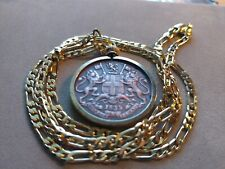 """1835 EAST INDIA QUARTER ANNA PENDANT on a 22"""" 18KGF GOLD FILLED CHAIN"""